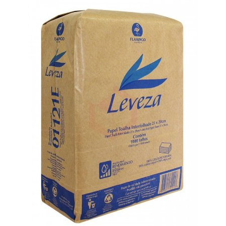 Papel Toalha Interfolhado Leveza 100% Celulose 21X20 1000 Folhas Ref.:1151E