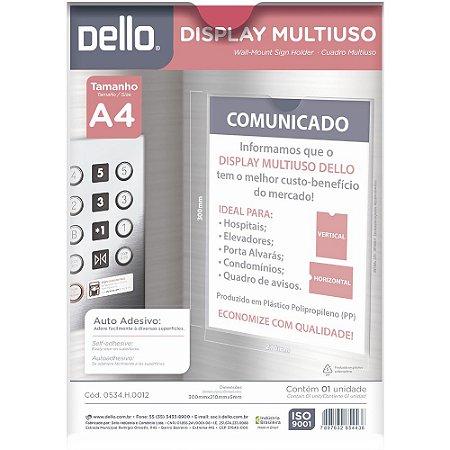 Display Multiuso Acrílico Auto Adesivo Dello p/ Avisos A4 0534