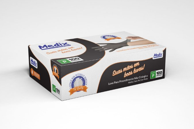 Luva Nitrílica Descartável Medix Black c/ 100