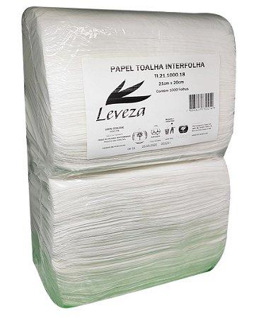 Papel Toalha Interfolhas Leveza 100% Celulose Virgem 20x21cm 1000 Folhas 17g