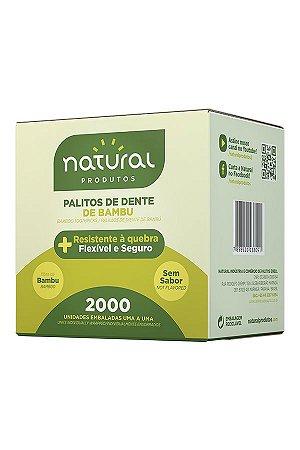 Palito Dental Embalado Bambu Natural c/ 2000
