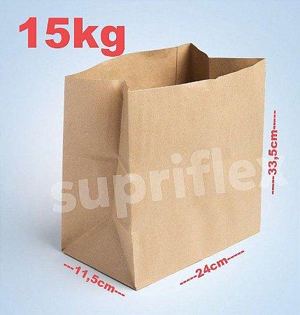 Saco Papel Kraft Fundo Quadrado 15kg 24x33,5x11,5cm c/250