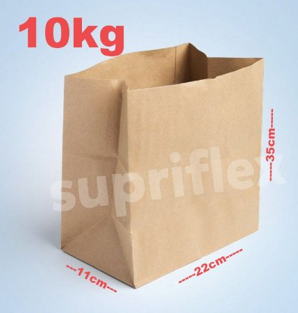 Saco Papel Kraft Fundo Quadrado 10kg 22X35x11cm c/250