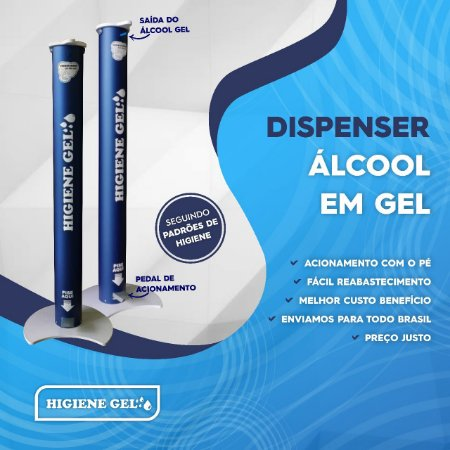 Totem para Álcool em Gel Higiene Gel c/ Pedal