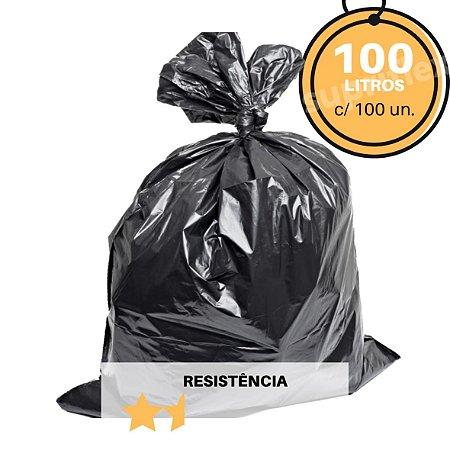 Saco de Lixo Preto 100L c/100 Resistência:Flex