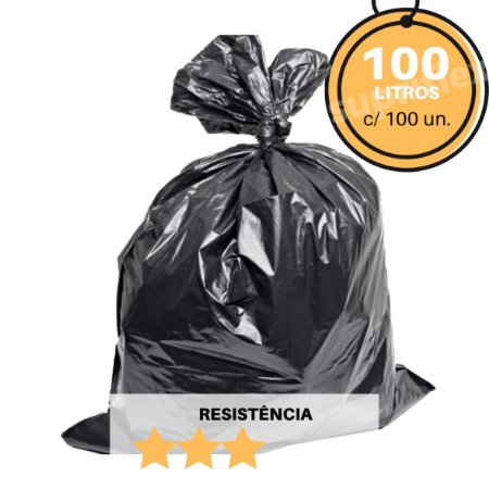Saco de Lixo Preto 100L c/100 Resistência:Médio