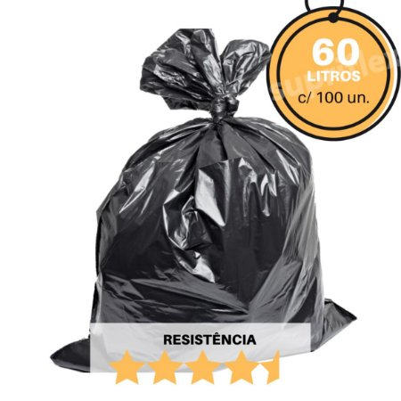 Saco para Lixo Preto 60L c/100 Resistência:Reforçado