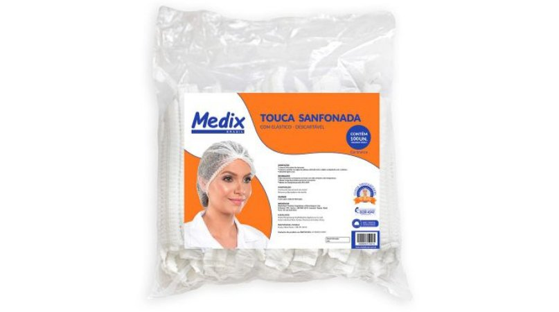 Touca Sanfonada c/ Elástico Medix c/ 100 un.