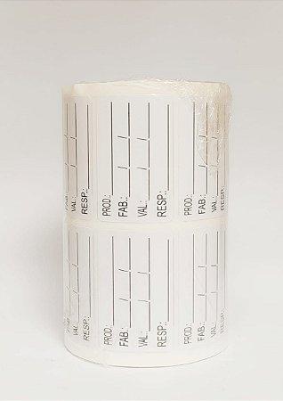 Etiqueta p/ Identificação de Alimentos Data e Validade 40x25mm c/ 1.000
