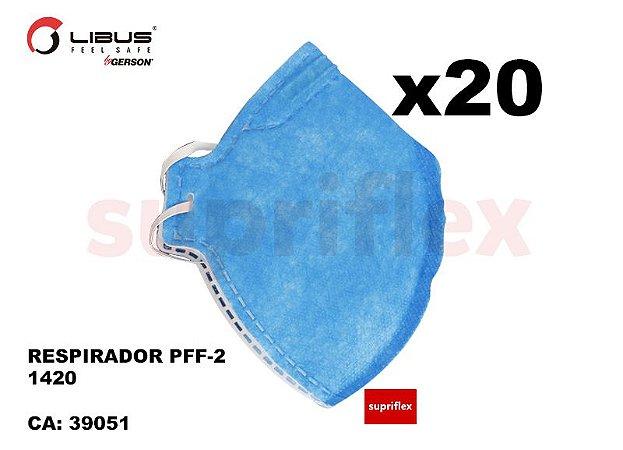 [Kit x 20] Máscara Respirador Descartável Libus PFF-2 1420 (= N95) CA N°39051