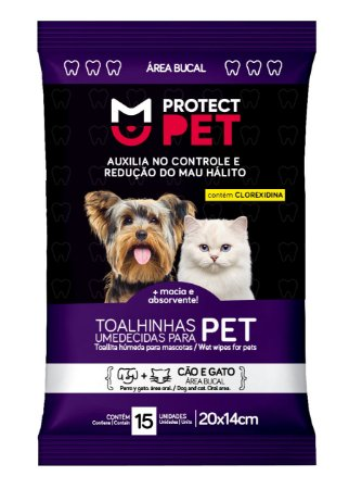 Toalhas Umedecidas Protect Pet Área Bucal Sachê 20x14cm c/ 15un