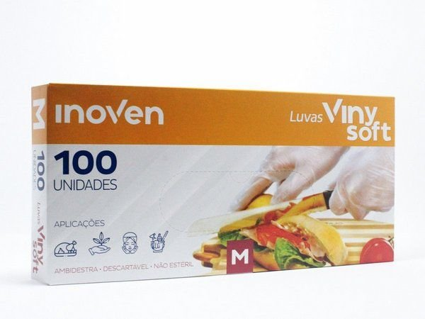 10x Luva Descartável Vinysoft c/100 M