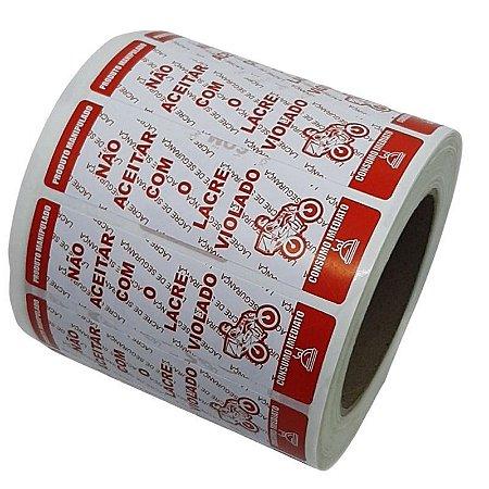 Etiqueta Lacre de Segurança 100x30mm c/ 500