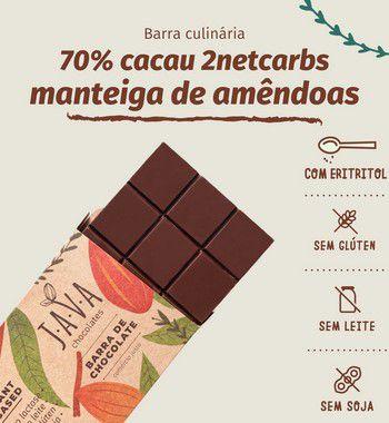 Barra culinária de chocolate 70% cacau LOWCARB 2netcarbs com ERITRITOL e MANTEIGA DE AMÊNDOAS - 1 kg