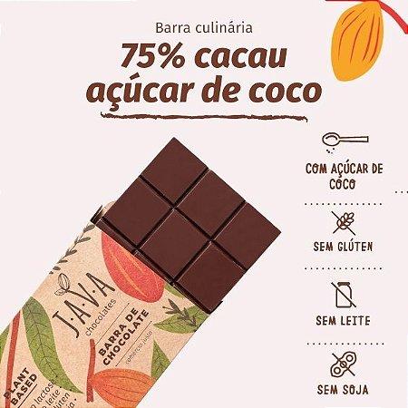 Barra de chocolate 75% cacau AÇUCAR DE COCO 1,0 kg . Zero glúten, leite, soja