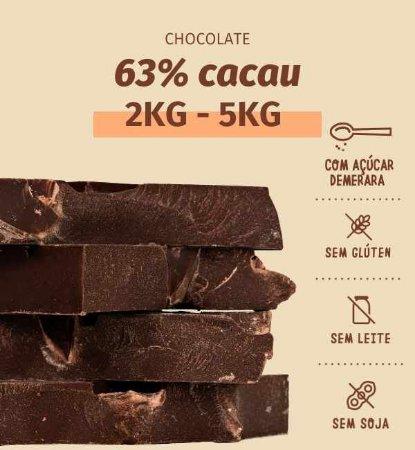 Barra culinária de chocolate 63% cacau bean to bar- ESCOLHA 2kg ou 5kg