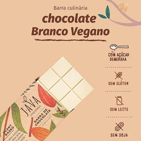 Barra de chocolate BRANCO nobre vegano com AÇÚCAR DEMERARA, zero lactose - glúten, leite e soja - 1,01 kg