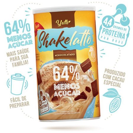 Achocolatado Shakelatto 64% menos açúcar* 500g