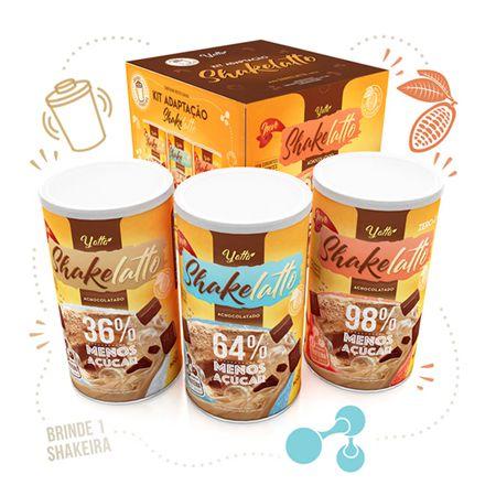 Adaptação Kit com 3 Shakelatto (36%, 64% e 98%) + 1 Coqueteleira de brinde
