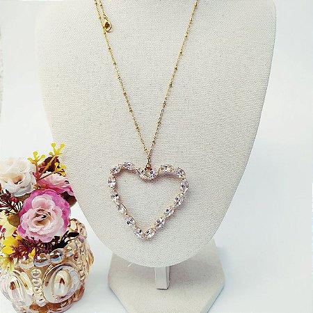 Colar folheado dourado coração com navetes de zircônia