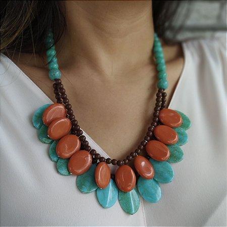 Maxi colar bolas e balas verde água, laranja e marrom