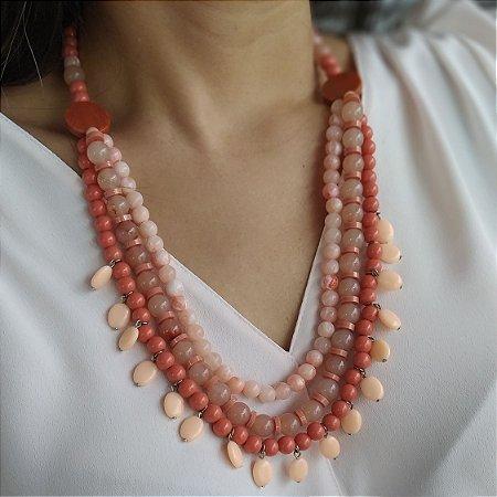 Maxi colar bolas tons laranja com coral