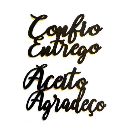 Quadro lettering acrílico Aceito agradeço Confio entrego