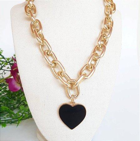 Colar bijuteria super corrente coração preto dourado