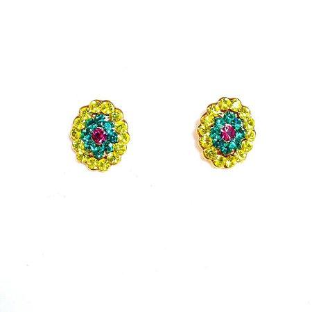 Brinco bijuteria oval strass amarelo e verde