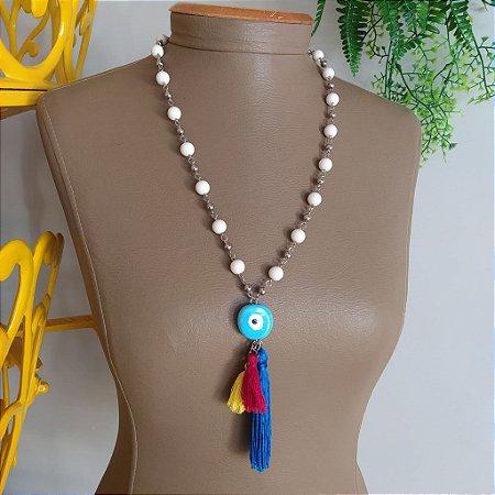 Colar bijuteria olho grego tassel colorido com bolas nude