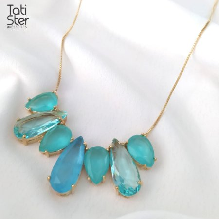 Colar folheado dourado 7 gotas pedras azuis