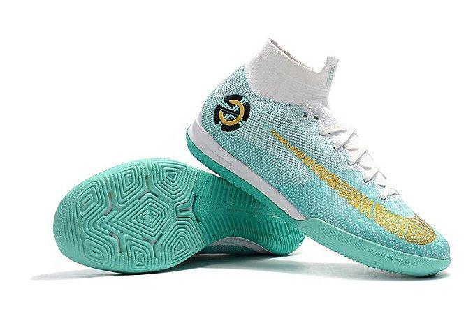 2943a5475 Chuteira Nike MercurialX Superfly VI CR7 Futsal Azul bebê (Cano Alto ...