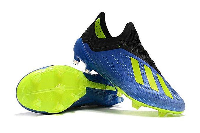 Chuteira Campo Adidas X 18 FG Azul e Verde FRETE GRÁTIS