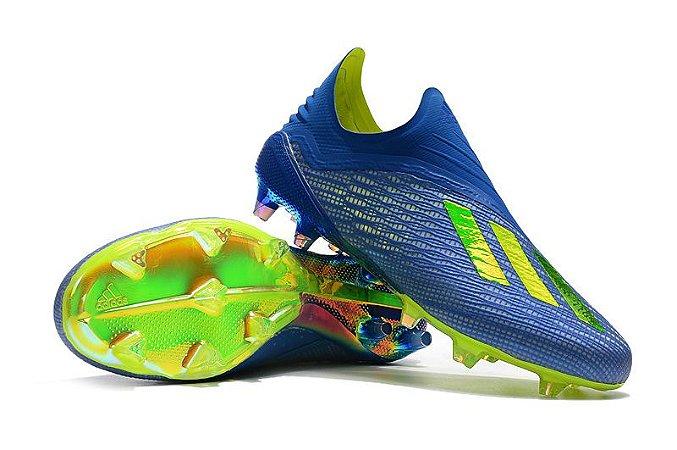 c328ec67c8 Chuteira Campo Adidas X18 FG Azul e Verde Flourescente - Loja Online ...