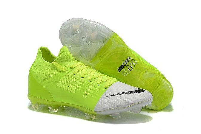 Chuteira Campo Nike Mercurial Green Speed 360 FG Verde e Branco