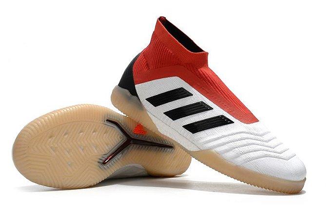 Chuteira Futsal Adidas Predator 18 Branca e Vermelha (Cano alto)