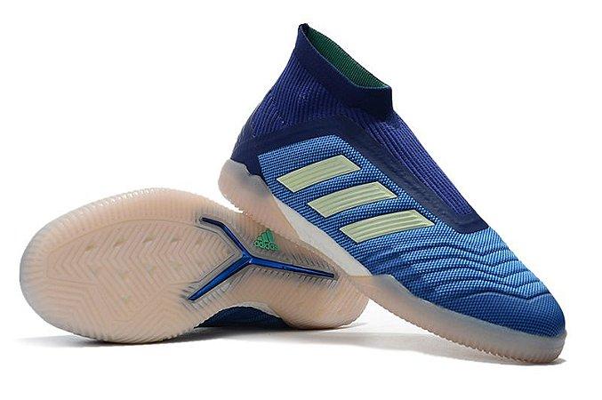 Chuteira Futsal Adidas Predator 18 Azul Metálico (Cano alto)
