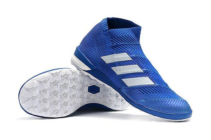 Chuteira Adidas Nemeziz Tango 18.3 Azul e Branco Futsal (Cano alto)