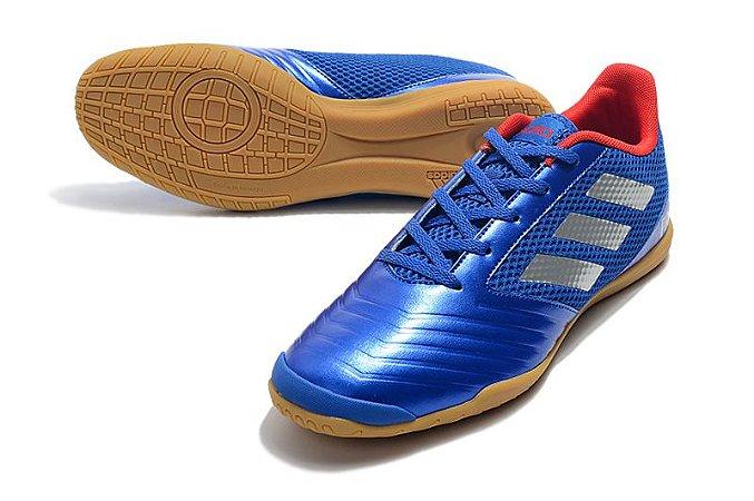 e39c5eb9e8a Chuteira Futsal Adidas Predator 19 4 IN - Azul Metálico Promoção ...