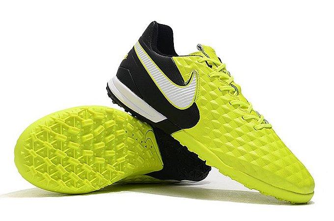 Chuteira Society Nike Tiempo Legend 8 Pro Preto/Verde Florescente