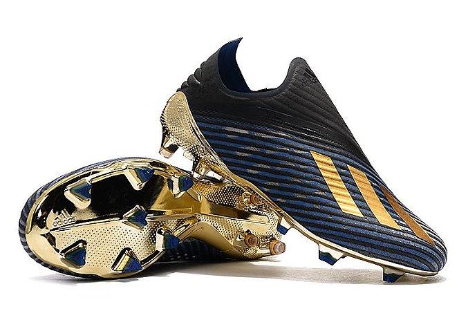 Chuteira Campo Adidas X19 Azul Solado Dourado