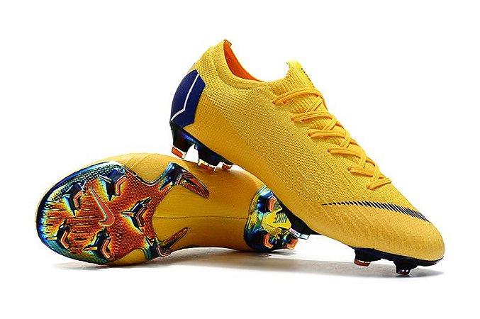 Chuteira Campo Nike Mercurial Vapor Fury VII Elite FG Amarela e Azul