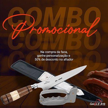 """Kit Faca 9"""" Inox Cabo Misto e Afiador + Personalização"""