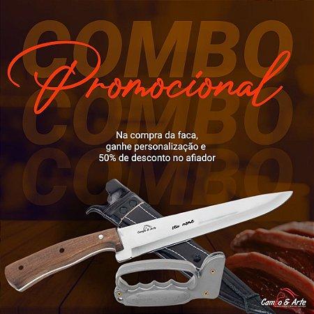 """Kit Faca 9"""" Inox Cabo Embuia e Afiador + Personalização"""