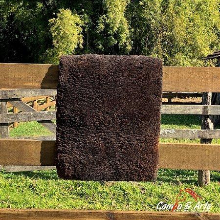 Pelego Mouro Escuro Lã Socada Forrado - 60x90cm