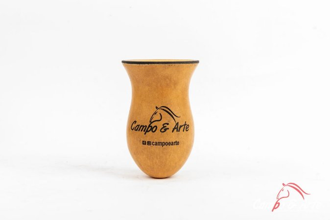 Cuia Bago de Touro Preta/Bege - Logo Campo & Arte