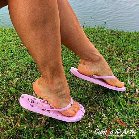 Chinelo Feminino Rosa Cavalinhos - Guria Campeira