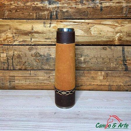 Garrafa Térmica Inox 950mL Forrada em Couro - Galante