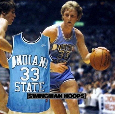 Camiseta Esportiva Regata Basquete Nike NCAA Indiana State Larry Bird Numero 33 Azul