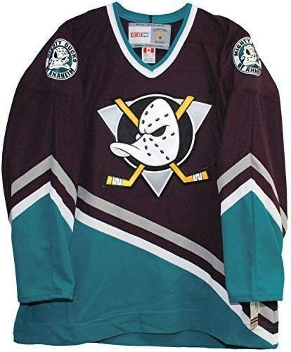 Camisa Esportiva Hockey NHL Anaheim Mighty Ducks Super patos  Paul Kariya Numero 9 Roxa